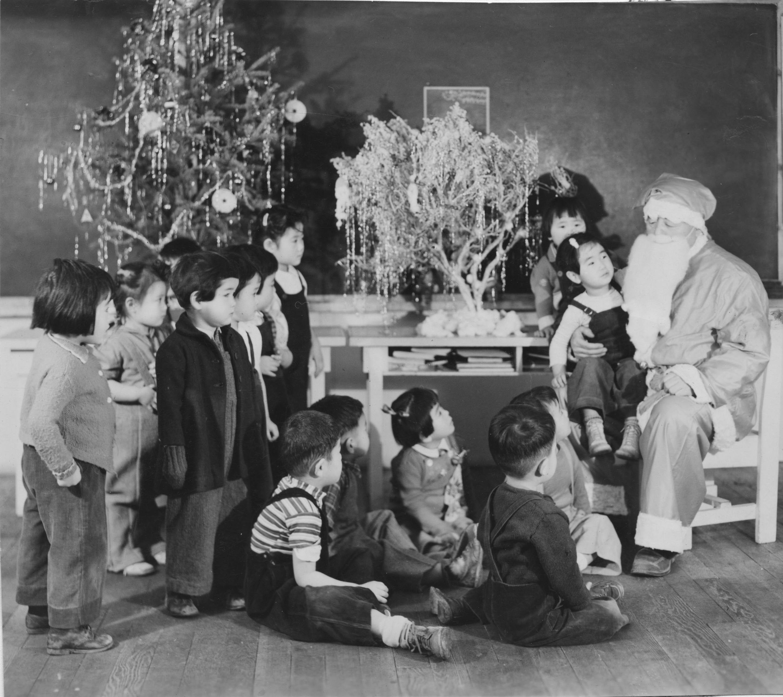 Japanese Children With Santa Claus At Minidoka Internment Camp  - Camp Christmas Tree
