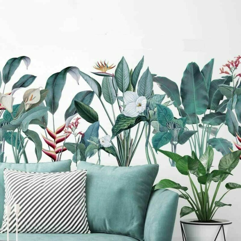 Removable Wall Decals Nice Tropical Leaves Flowers Living Room Wall Mural Diy In 2020 Flower Wall Stickers Wallpaper Panels Wall Stickers 3d #wall #art #stickers #for #living #room
