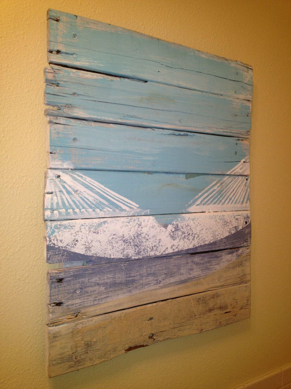 """Beach Decor Hammock on the Beach Reclaimed Wood 20"""" x 24"""""""