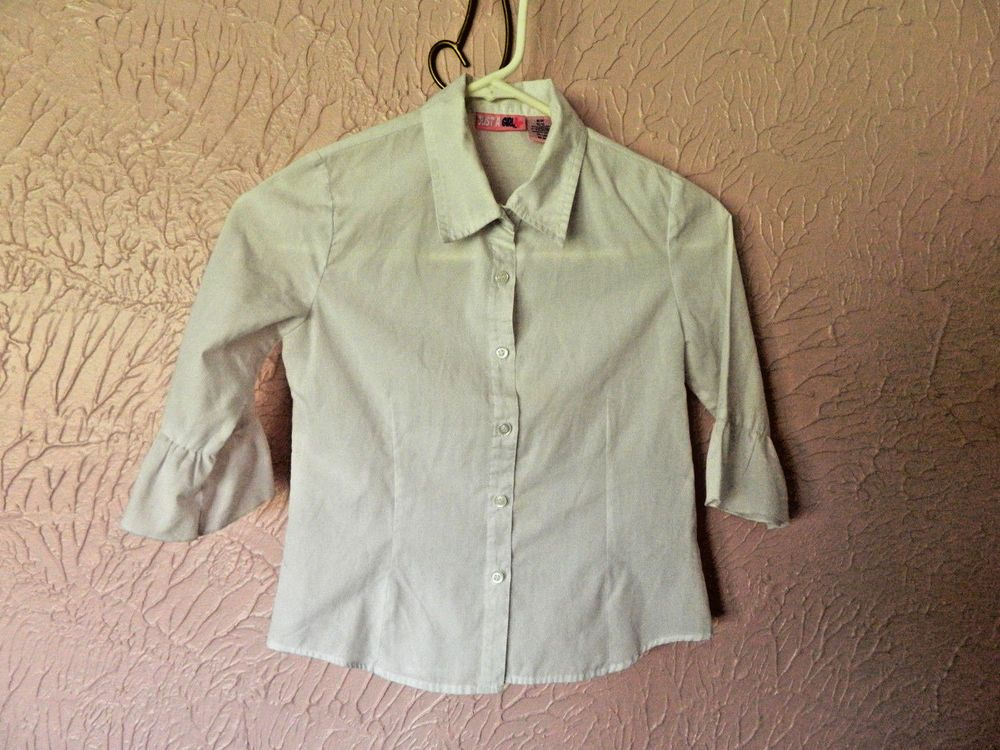 Just a Girl Girls 3/4 Sleeve Blouse Size M 10/12 White Button Down Dressy Shirt #JustAGirl #DressyEverydayHoliday