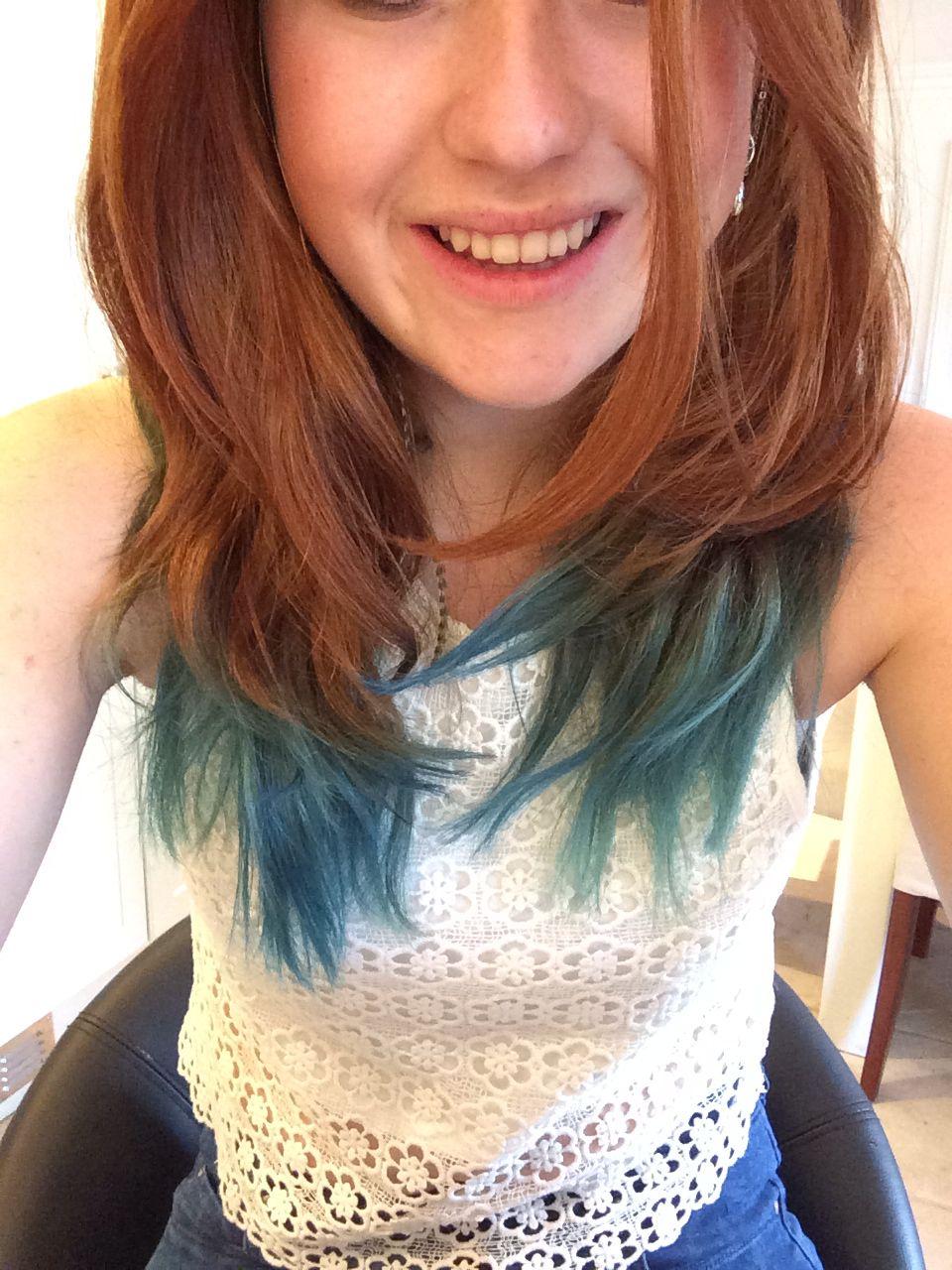 Blue Dip Dye On Red Hair Natural Red Hair Natural Red Hair Dye Dyed Red Hair