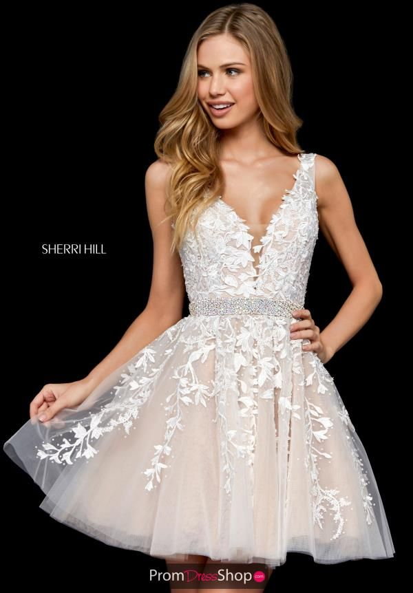 7f028e35336 Sherri Hill short dress 52157 is the perfect short dress for your next  special event. This halter neckline is adorn with beautiful floral  appliques that ...
