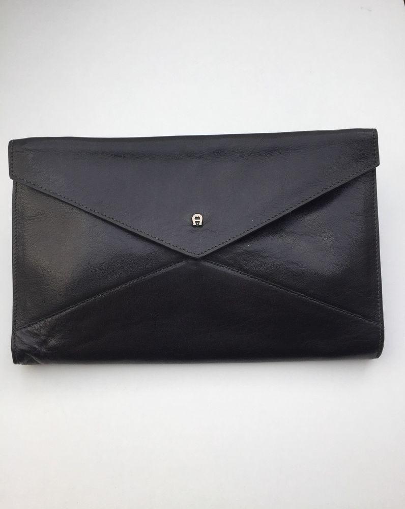Brandneu 100% original Räumungspreis genießen AIGNER Damen Handtasche, Clutch, Leder schwarz, Retro   Mode ...