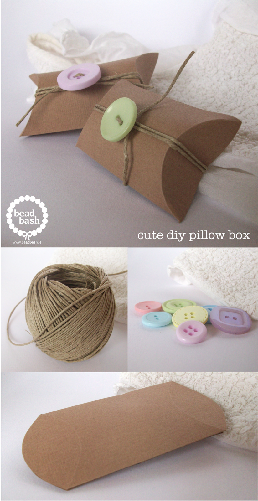 DIY Pillow Boxes dresses with kitchen string and buttons