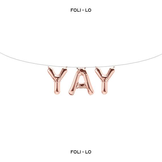 Yay Rose Gold Letter Balloons Metallic Letter Balloons