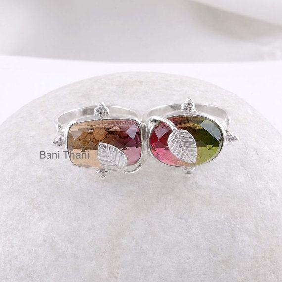 Two Finger Ring, Designer Ring, Leaf Ring, Tourmaline Bi Doublet Quartz Ring 925 Sterling Silver Ring, Gemstone Adjustable Ring #1164