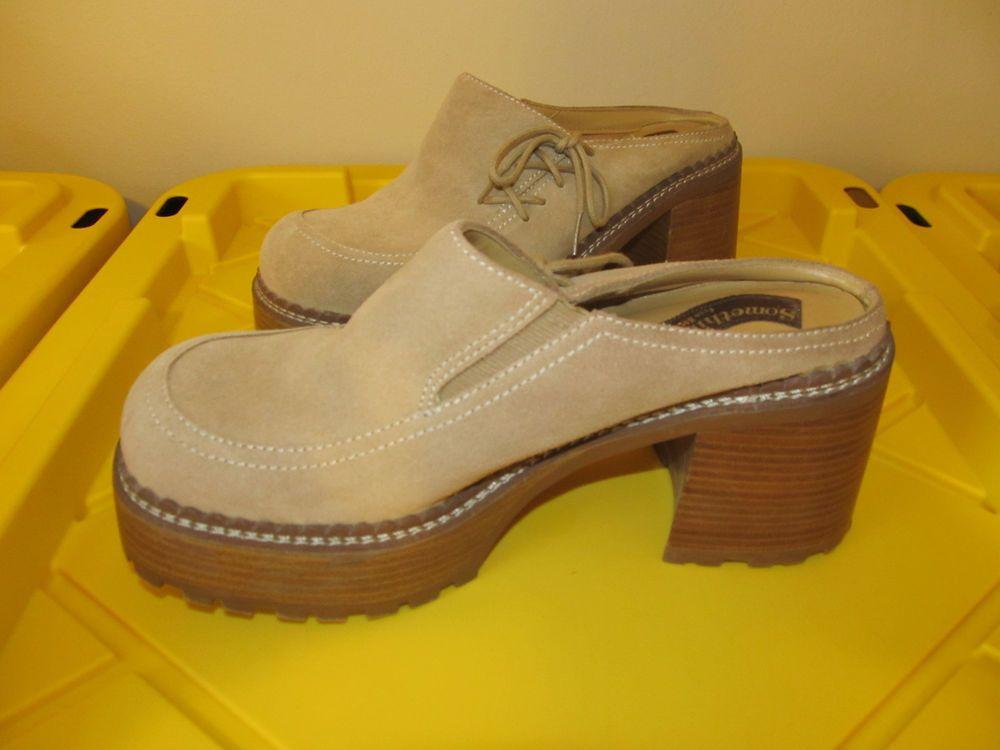 bad85445b66 Vtg 90s Brown Leather Chunky Platform Mules SOMETHIN' ELSE FROM ...