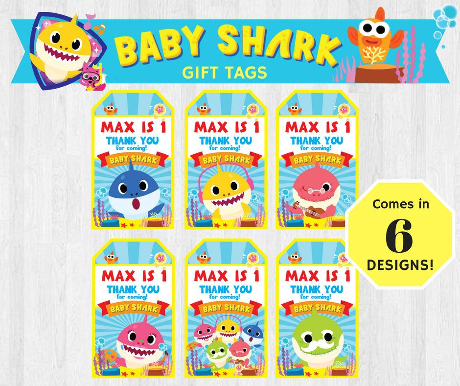 PinkFong Baby Shark EDITABLE Birthday Party Gift Tags Thank