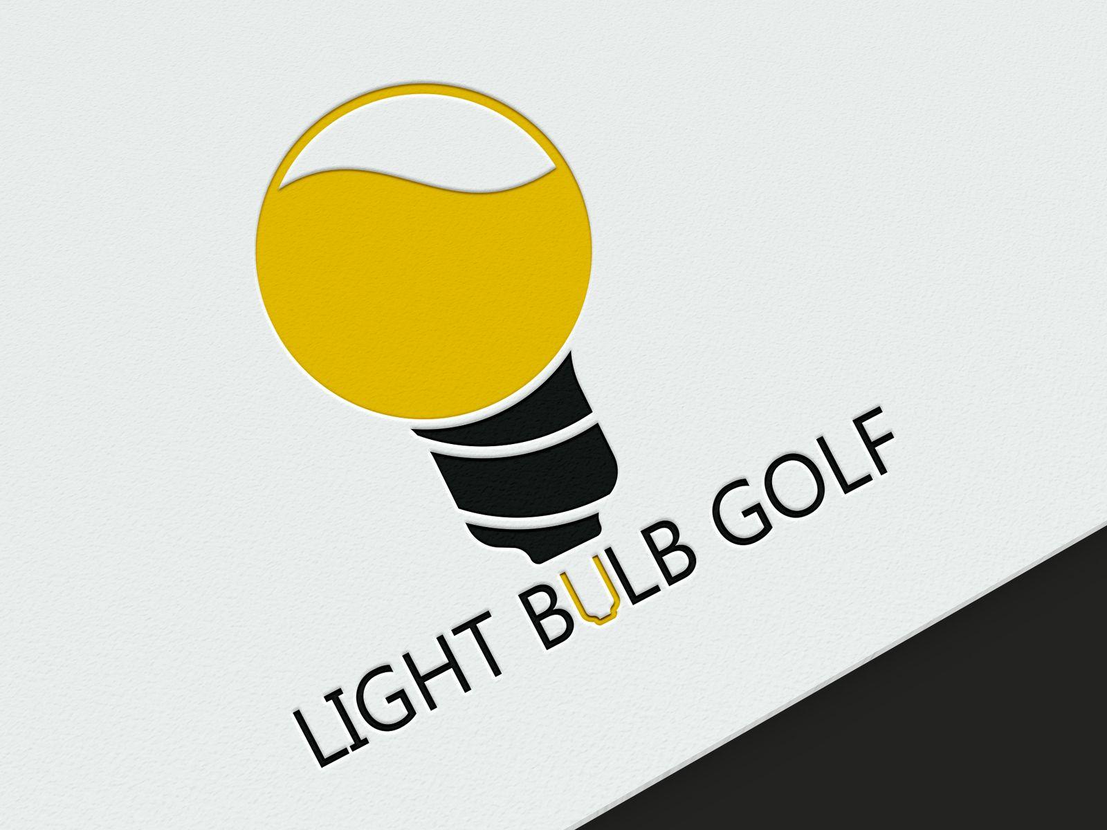 Light bulb golf drawing illustration creative logo flat