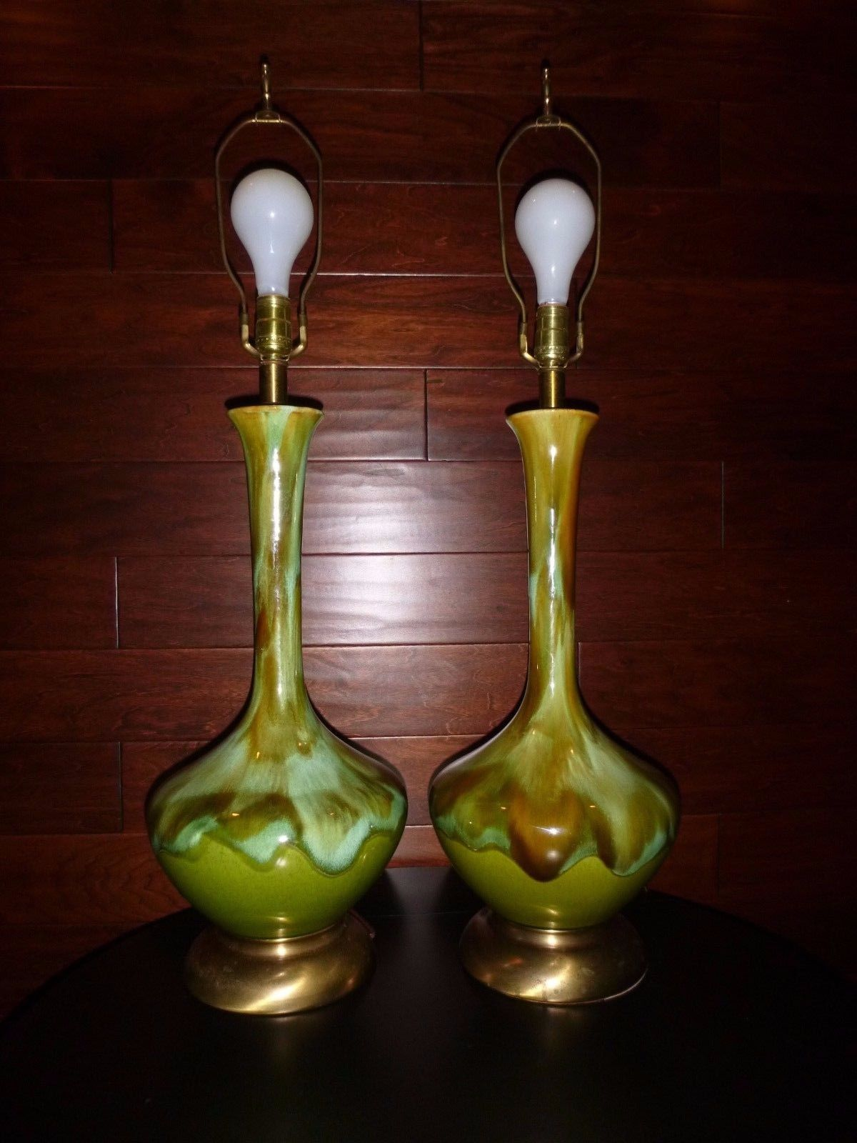 Pr Vtg Mid Century Drip Glaze Genie Style Ceramic Table Lamps