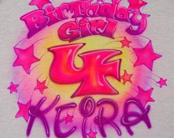 a18e502b Airbrush Birthday Girl 4 With Stars Custom Airbrushed Design Girls Boys T  Shirt