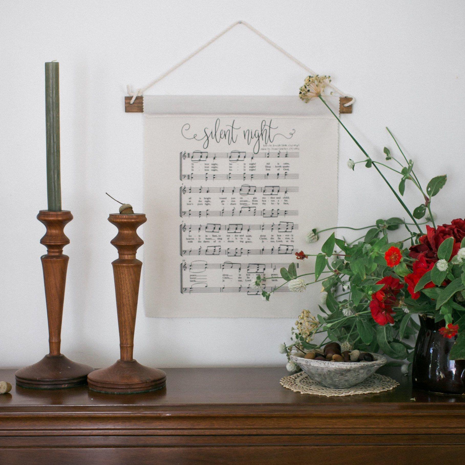 Silent Night Wall Decor  Christmas Song Lyrics  Song Wall Hanging  Music Gift by GrandmaEsthersLegacy on Etsy