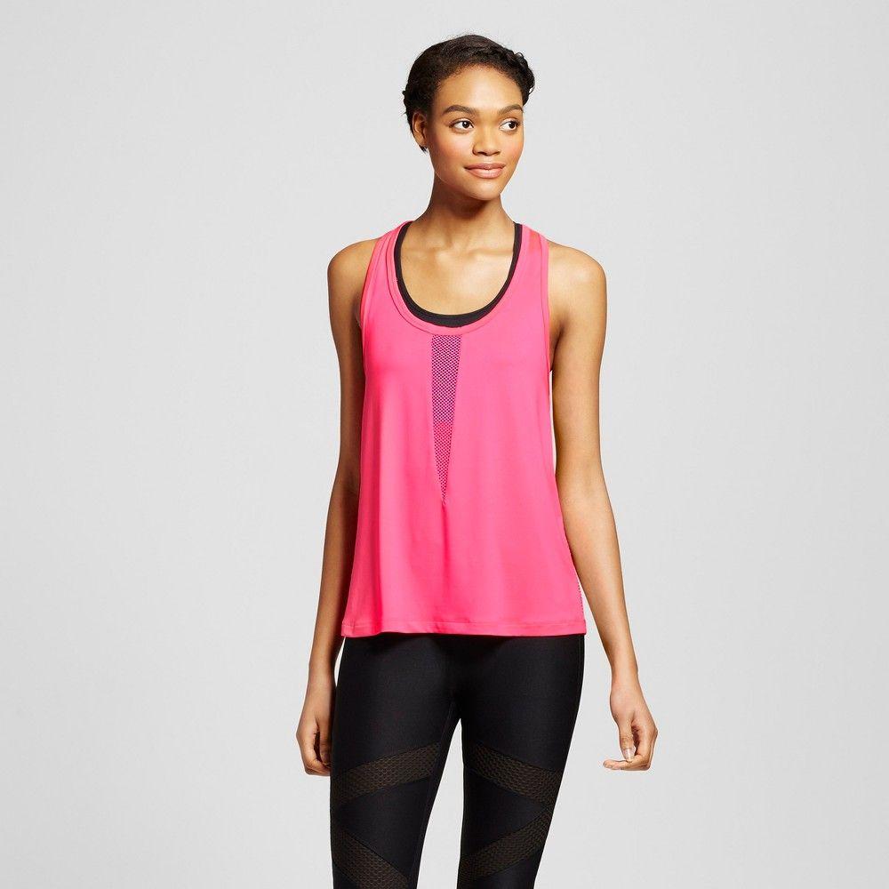 Inspired Hearts - Women's Mesh Piecing Tank Top - Pink S