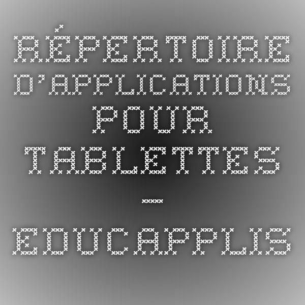 Répertoire d'applications pour tablettes — EDUCAPPLIS