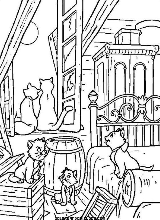 Escena romántica de los Aristogatos para colorear | Kid drawing ...