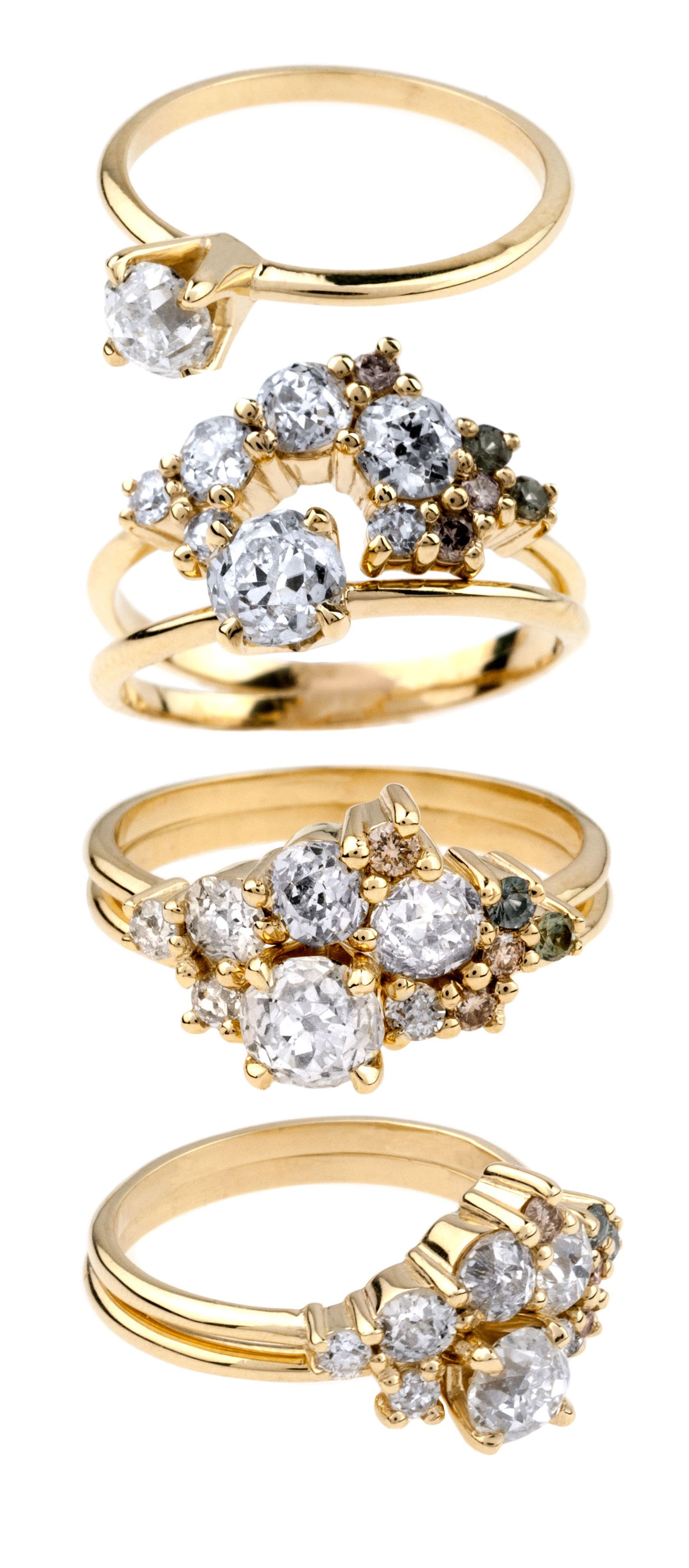 This incredible Custom Ombré Heirloom Cluster Ring Set features a