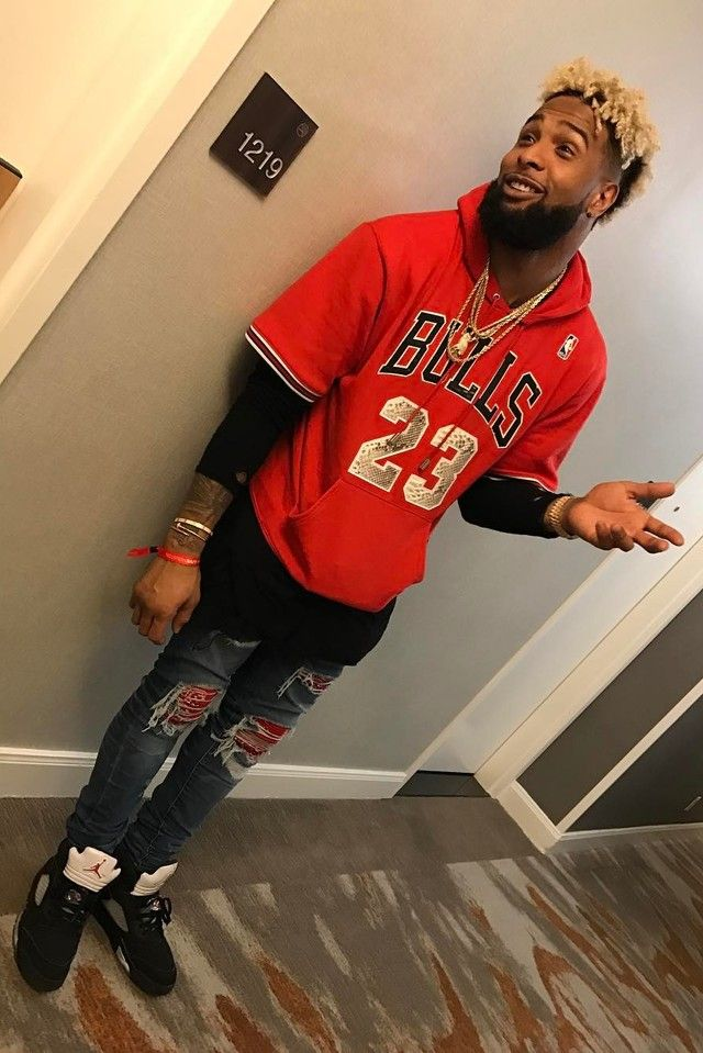 the best attitude c9bd8 8c7f9 Odell Beckham Jr. wearing Renzo Cardoni Chicago Bulls ...