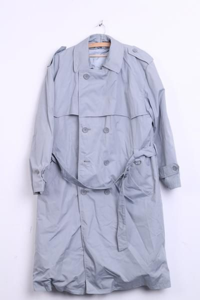 KINGS CLUB Womens 42 XL Coat Trench Double Breasted Grey Padded - RetrospectClothes