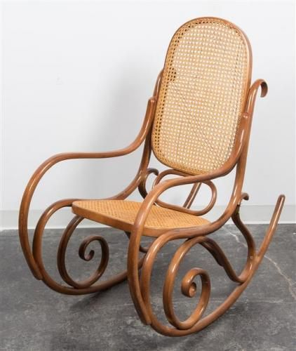 Rocking Chair Height Leather With Ottoman A Thonet Style Bentwood Having Caned Back And Seat 40
