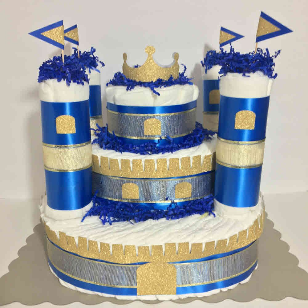 little prince castle diaper cake centerpiece | castle diaper cakes