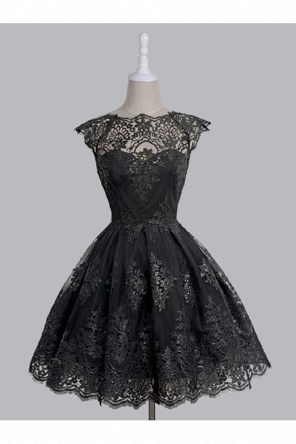 Custom Made Admirable Vintage Homecoming Dress, Prom Dresses With Appliques, Prom Dresses Short, A-Line Homecoming Dress #shortblackhomecomingdresses