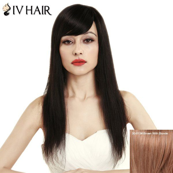 $63.29 Fashion Women's Side Bang Siv Hair Natural Straight Human Hair Wig