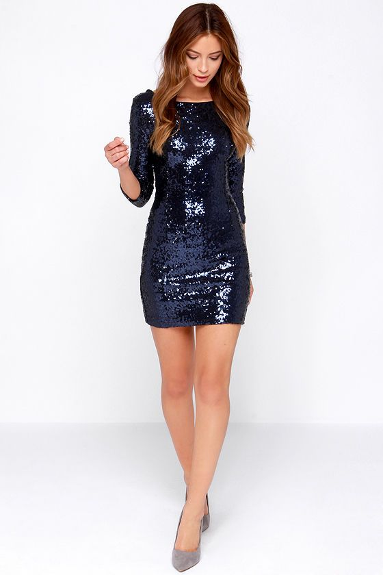 23cd096b7899 Possible NYE dress: Delightful Ways Navy Blue Sequin Dress at Lulus.com!