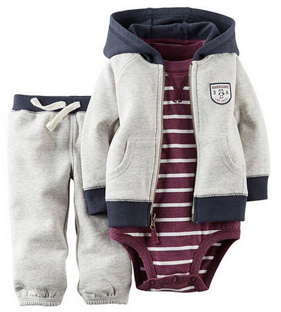 dc049169bb Encontrar Más Conjuntos de Ropa Información acerca de Envío gratis Carters  set jaxket + romper + pants 3 unids. la ropa del bebé ropa infantil otoño  los ...