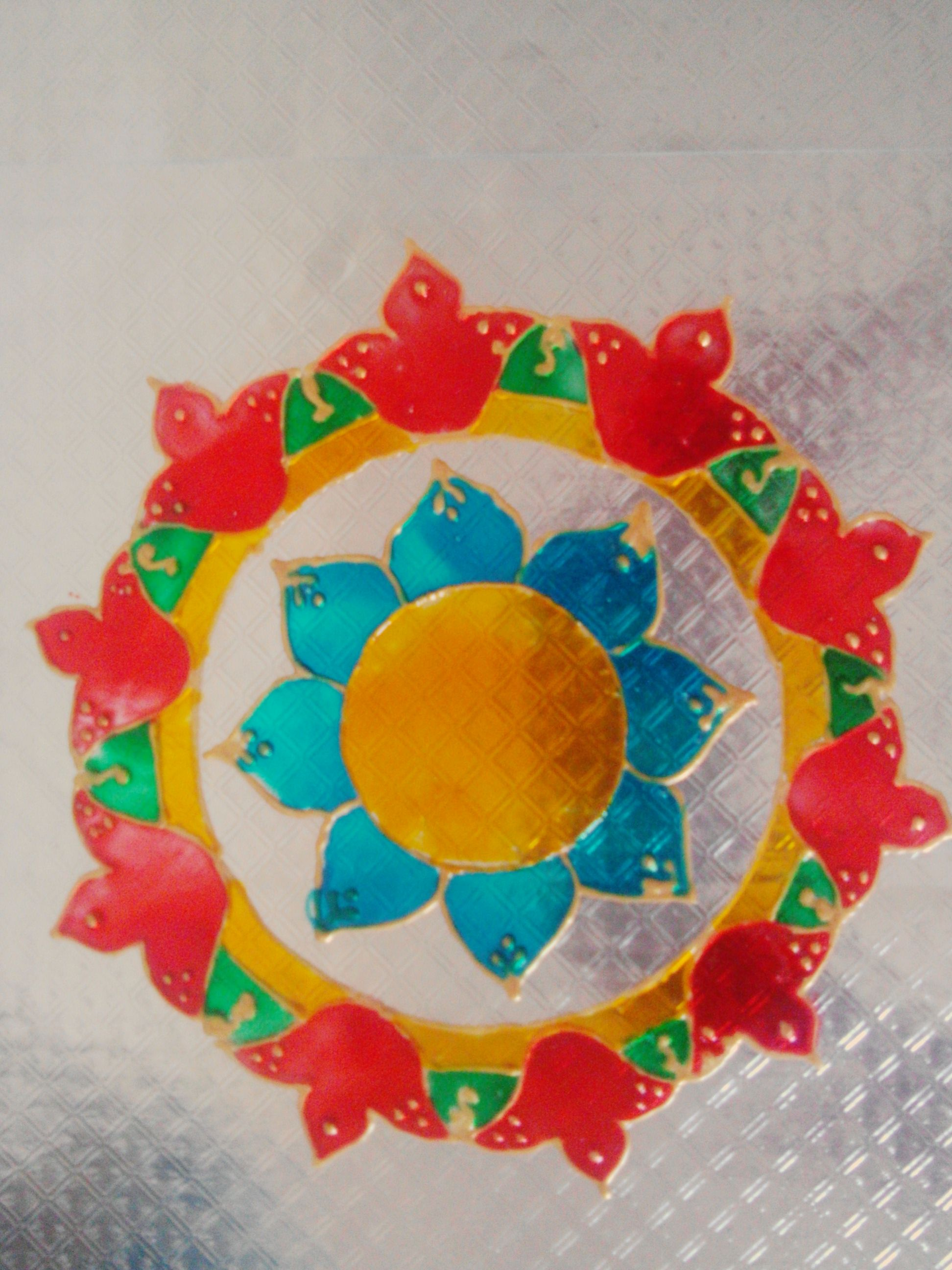 Rangoli Using Ohp Sheet And Glass Paint Diy Art Glass Painting