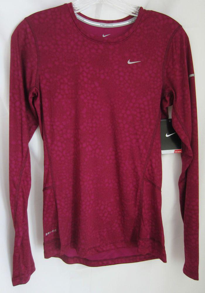 5f18c3d5 NWT Nike Running Women's Printed Long Sleeve Miler Shirt Sz XS Dri-Fit Dark  Red #Nike #ShirtsTops #nikerunning