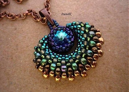 Peacock Feather Pendant by IrenaK ~ Love the gradation & how this piece just flows.