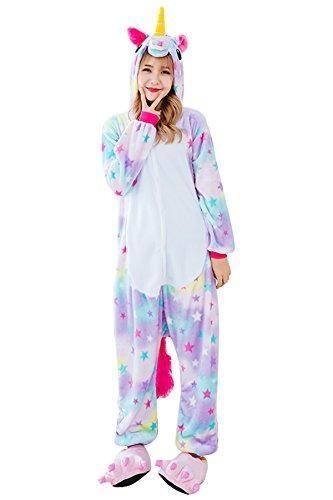 Unisex Adult Pajamas Unicorn Kigurumi Cosplay Costume Animal Sleepwear Onesis
