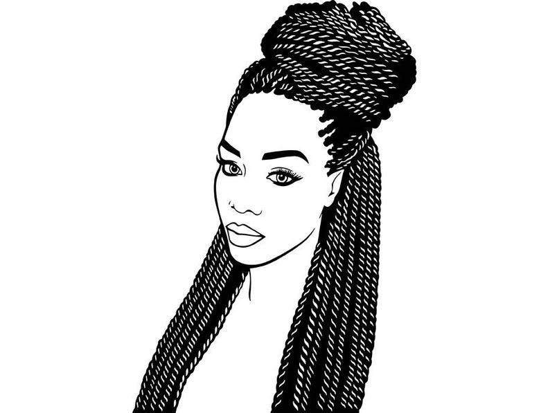 Afro Woman Svg Princess Queen Braid Hair Beautiful African Etsy Afro Women African American Art Women Braided Hairstyles