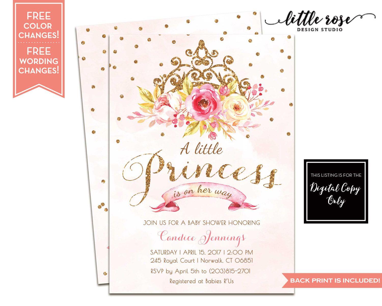 Little Princess Baby Shower Invitation Printable - A Little Princess ...