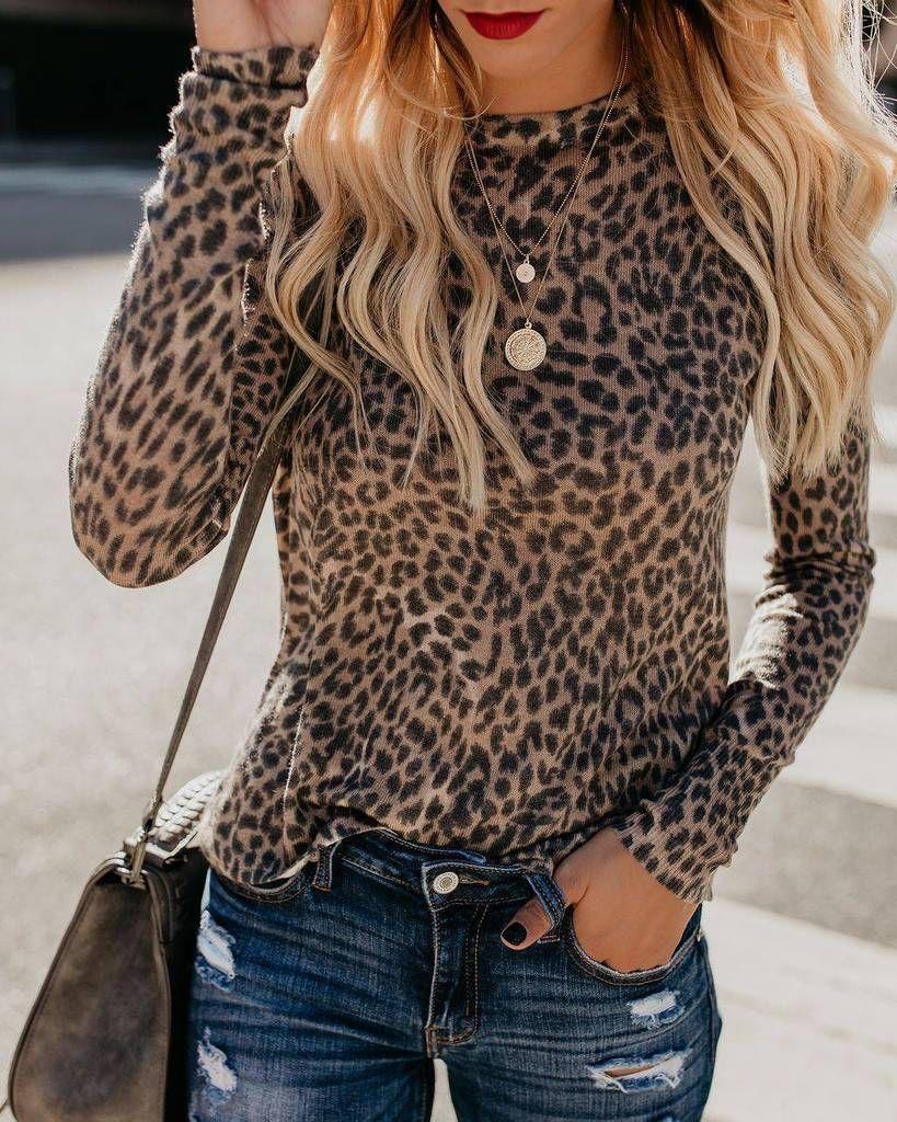 Fashion Women Ladies Leopard Print Crew Neck Loose Casual T-Shirt Blouse Tops US 2