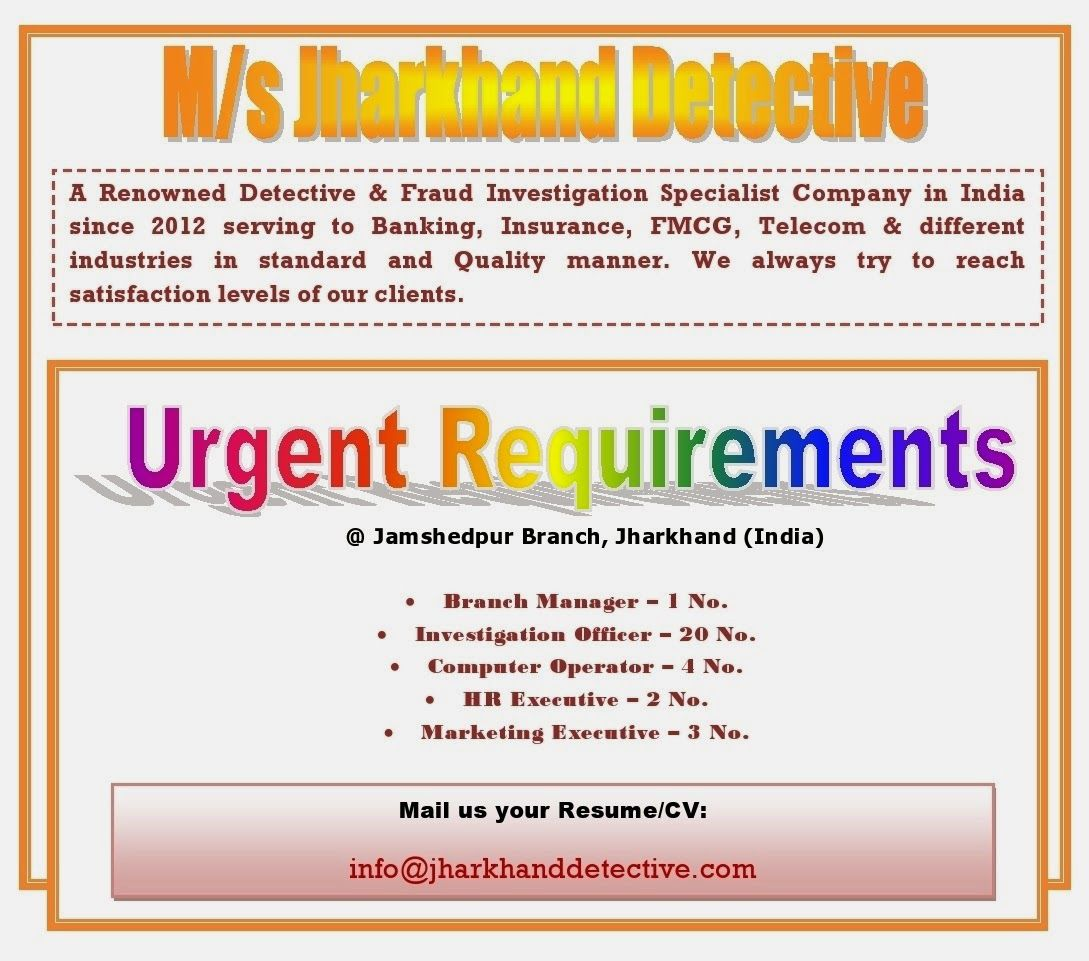 Current Openings With M S Jharkhand Detective Current Openings