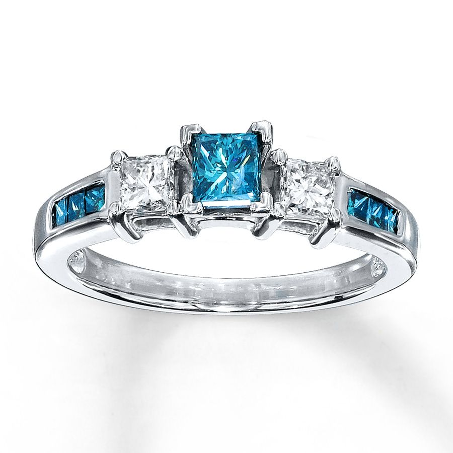 Artistry Blue Diamonds Blue Diamond Ring 34 ct tw Princess cut