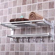 Foldable Aluminum Towel Bar Set Rack Tower Holder Hanger Bathroom Hotel Shelf
