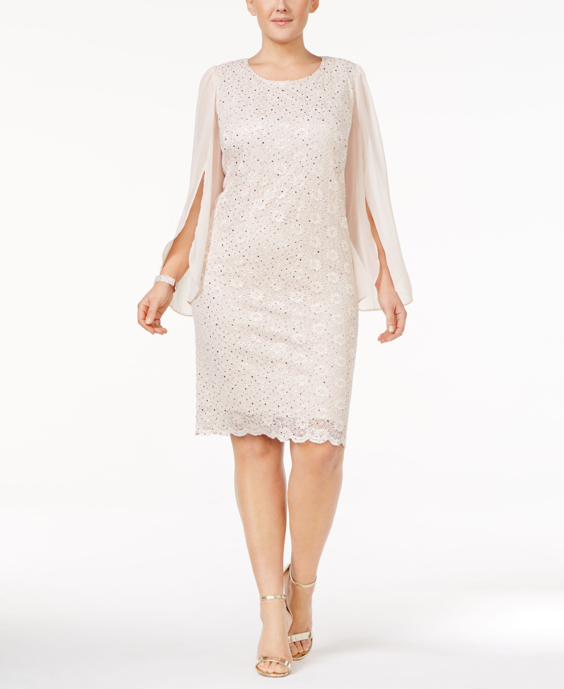 32fbecdc679 Connected Plus Size Angel-Sleeve Sequined Dress