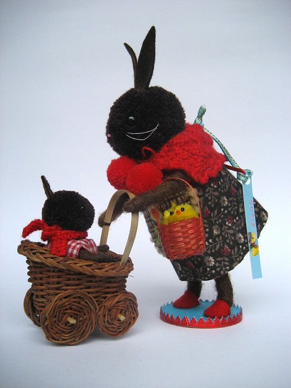 Chocolate Mom bunny with her baby on Etsy, $165.00