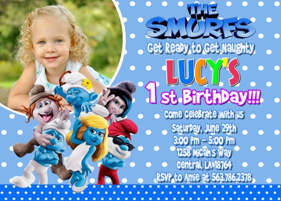 Smurfs Birthday Party Invitation Printable by FunPartyInvitation