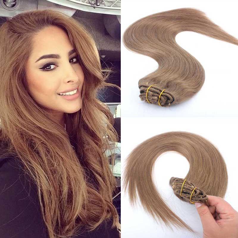 8 light brown clip in human hair extension european clip in hair hair extensions wigs closures and all types of human hair products pmusecretfo Gallery
