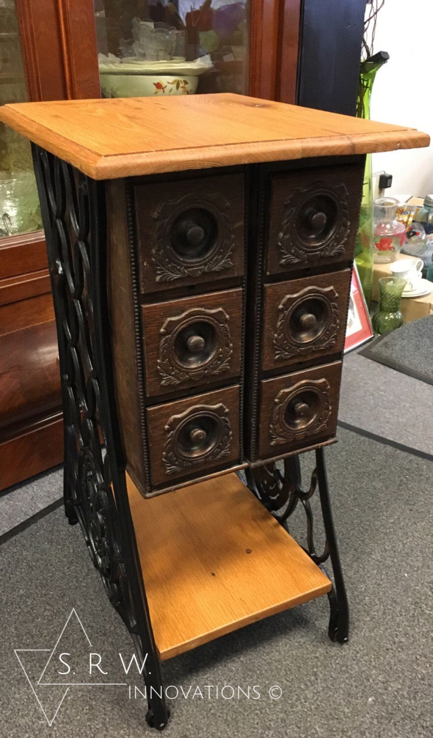 Sewing Machine Side Table W Reclaimed Wood Top And Drawers Repurposed Furniture Machines