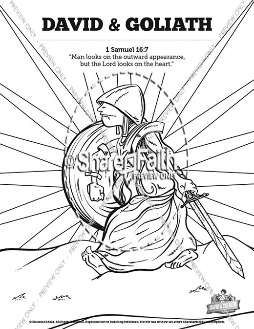 David and Goliath Sunday School Coloring Pages | Sunday school