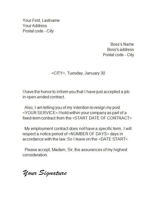 ResignationLetter  Resignation Letter