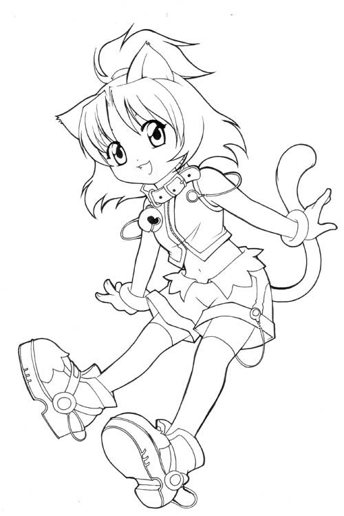 Chibi Coloring Pages Unfinished Chibi Catgirl By Nekoshiei