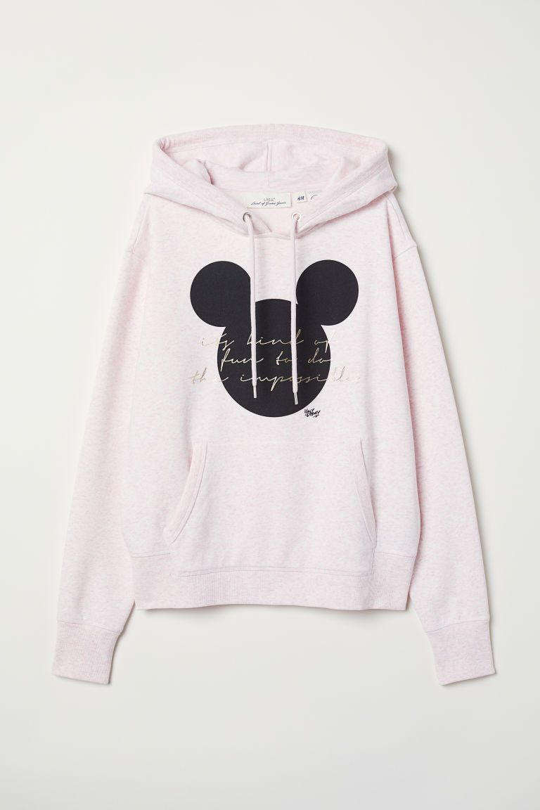 7d009731a Printed Hooded Sweatshirt - Lt pink melange/Mickey Mouse - Ladies | H&M US 4