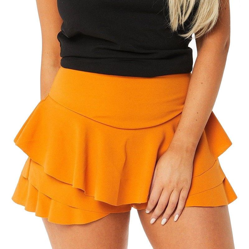 Women/'s Layered Ruffled Frill Skorts High Waisted Solid Casual Mini Skirt Shorts