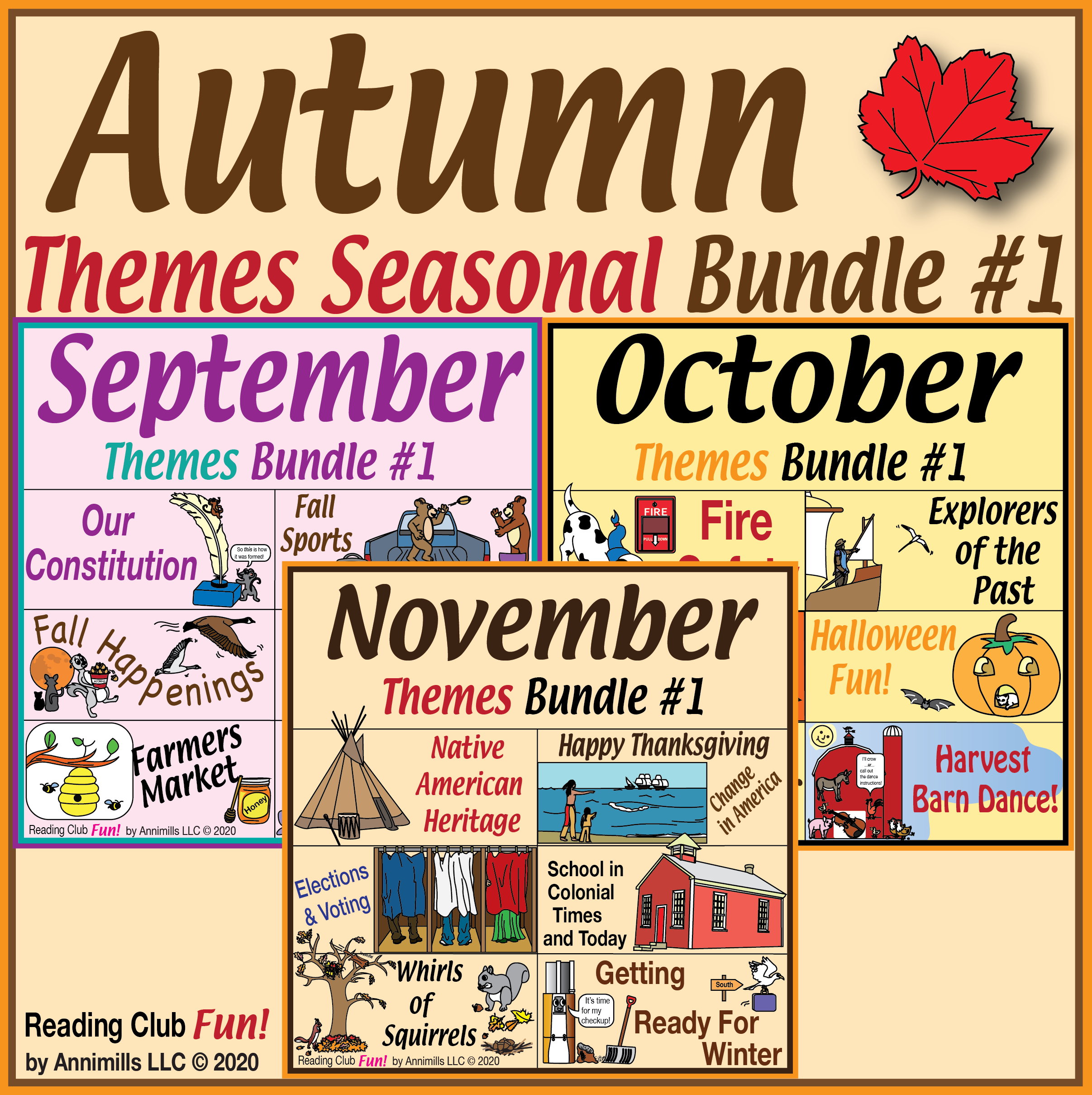 Autumn Themes Puzzles Seasonal Bundle 1 In