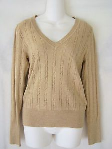 Old navy~beige/tan/khaki~long sleeve v-neck cable knit sweater top ...